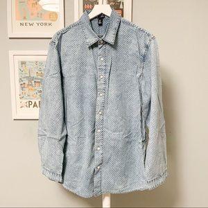 Gap Sun Bleached Print Design Chambray Shirt XL